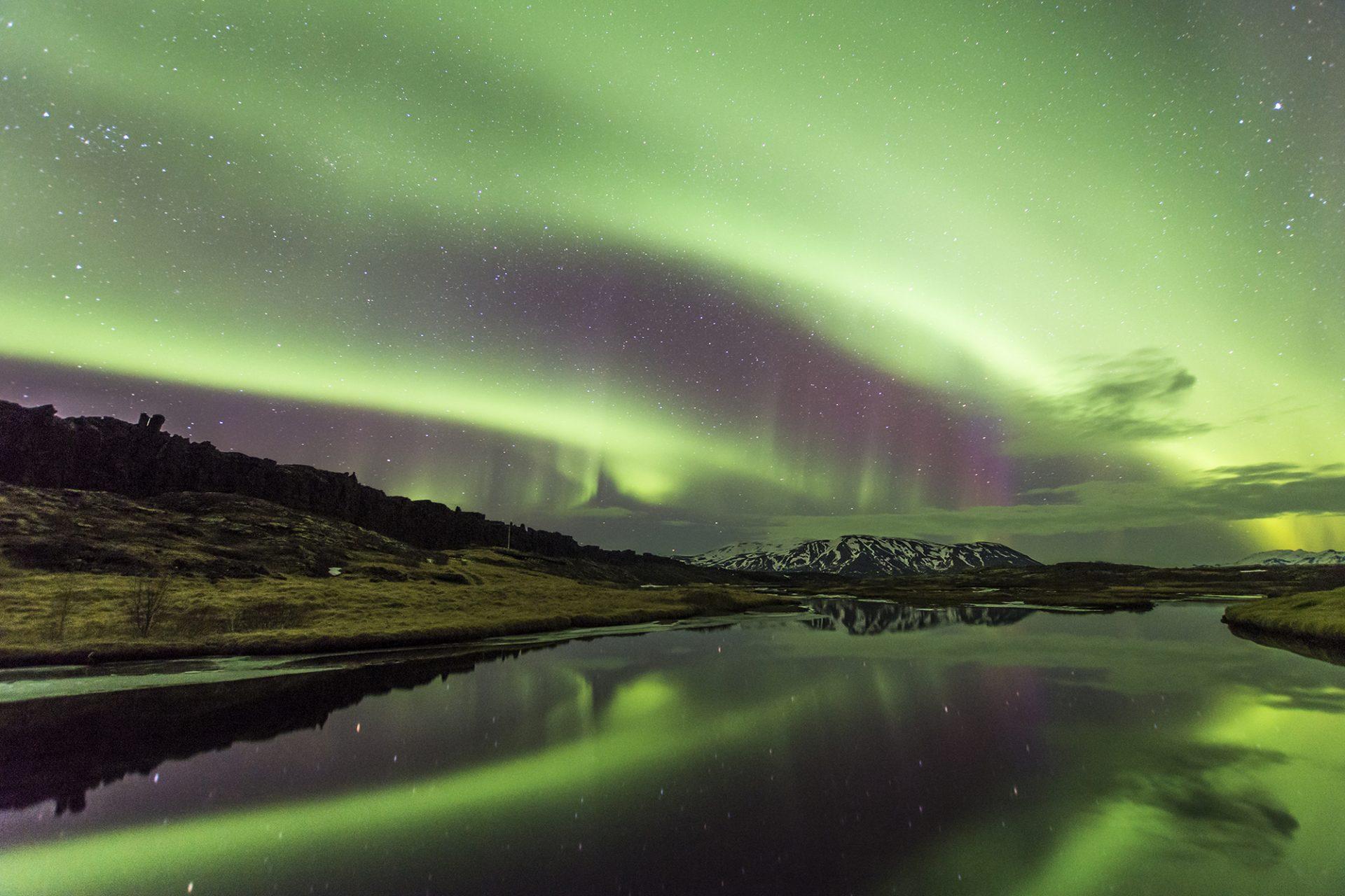 Aurora Borealis Over Þingvellir National Park Iceland