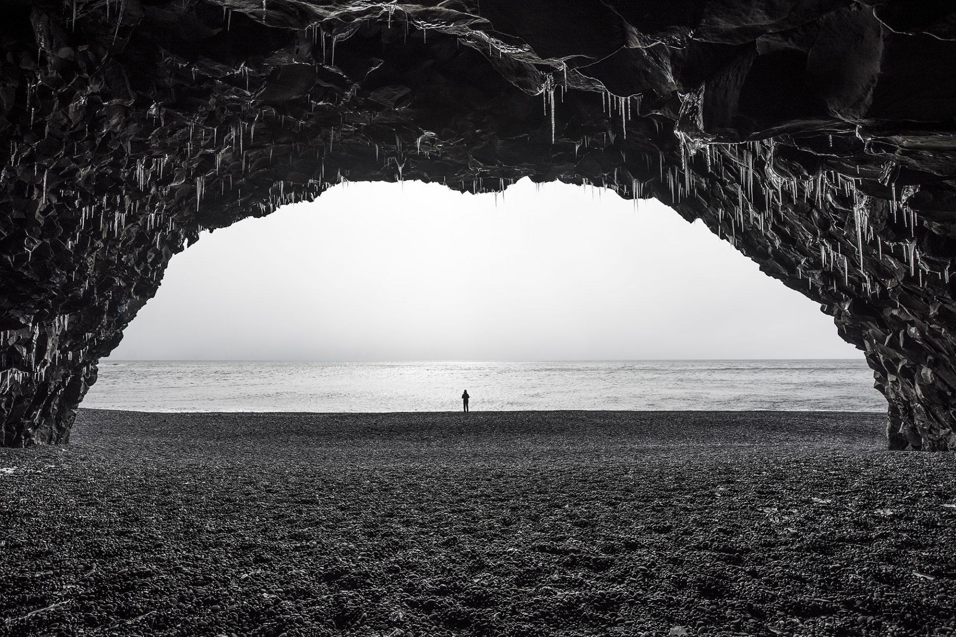 Black Beach Cave Iceland