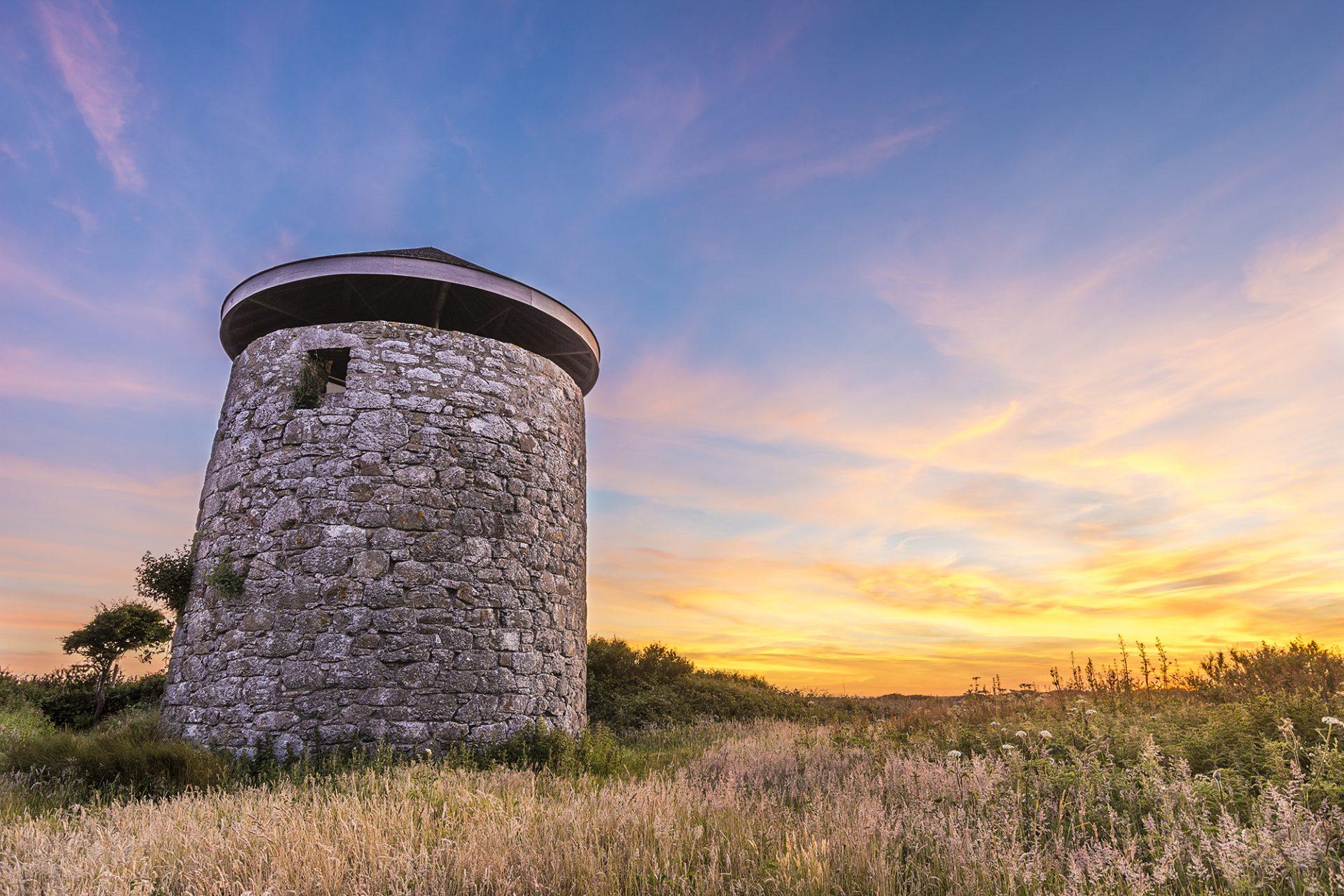 Windmill Farm Tower Sunset Cornwall